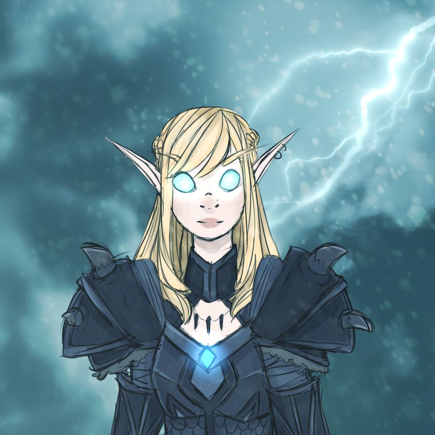 Wow Dark knight blood elf by Skune