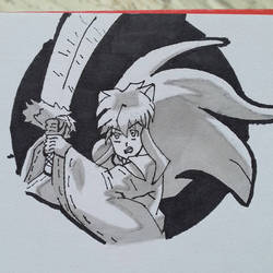 Black and white drawing of inuyasha by kidnaser