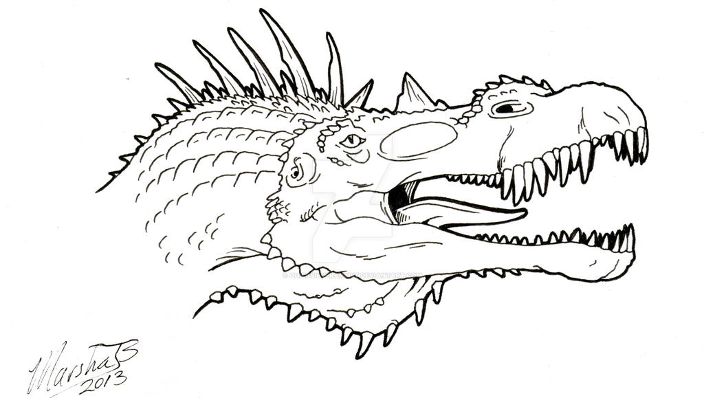 Intro image for coloring book Spinosaurus by QuickSilverArtist