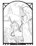 Art Deco unicorn and maid