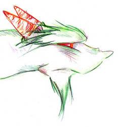 Green dragon color pencil by Triserao