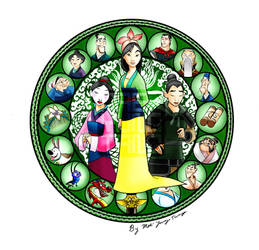 Mulan stained glass COMPLETE by MaeMaeTwin
