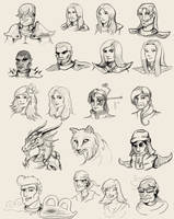 MARDEK character face sketches by Pseudolonewolf