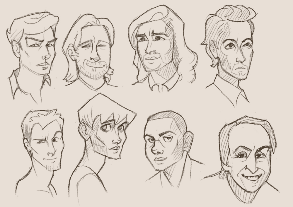 Male faces by pseudolonewolf