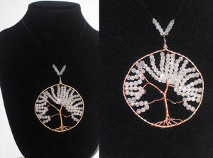 White Bead Large Tree of Life Necklace Beaded