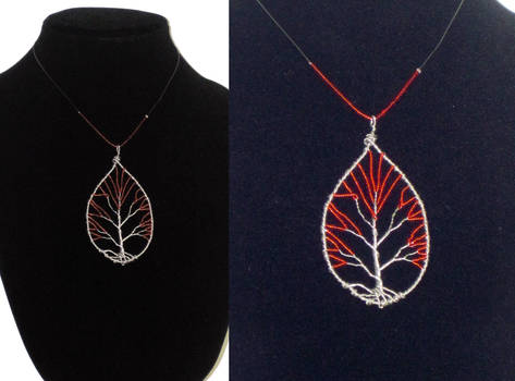 Red Bead Tree of Life Necklace Fall Leaf