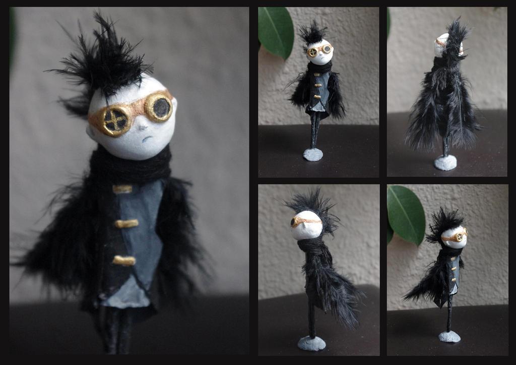 Paper clay: Steamgoth bird boy by Lauramei