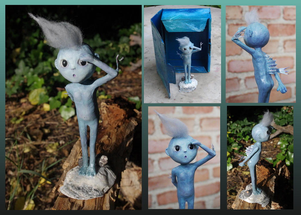 Boops, genie of the deep sea. Paper clay Art Doll by Lauramei