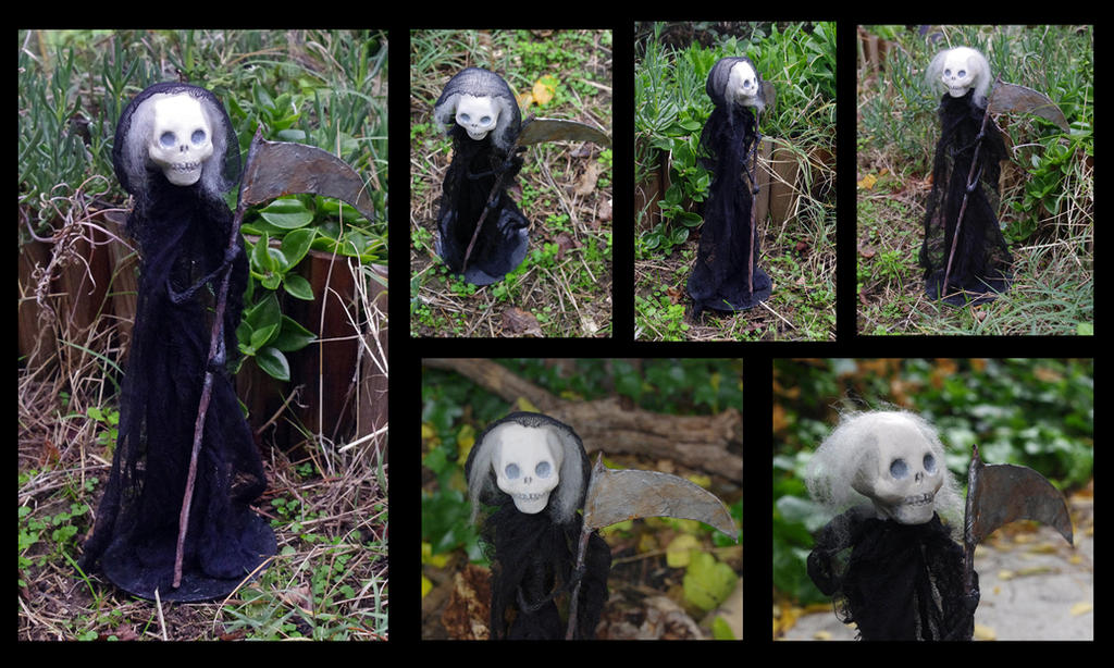 Art doll Death. Paper clay and paper mache figure by Lauramei