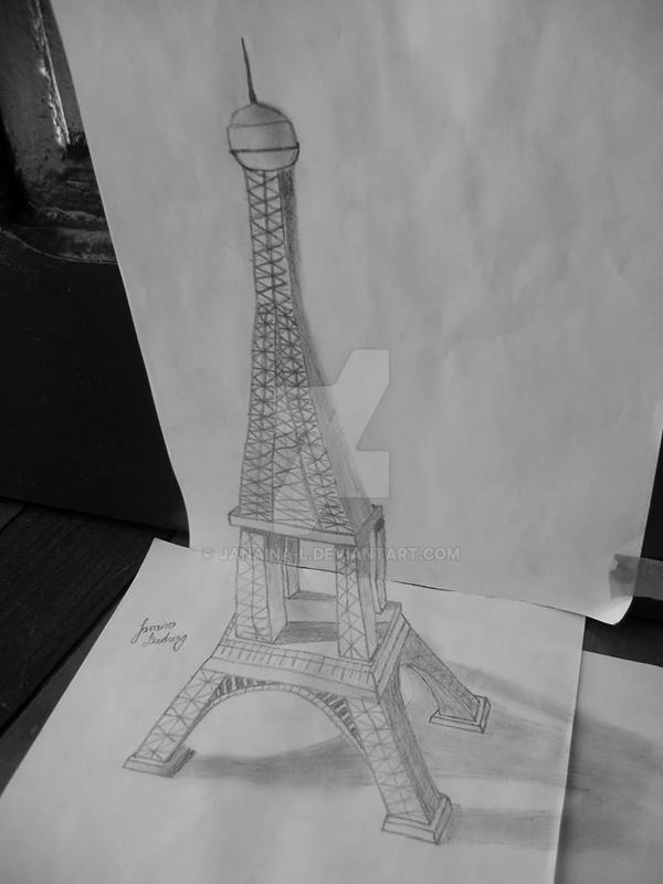 Eiffel Tower Black And White Drawing my 3d Draw of Eiffel Tower by