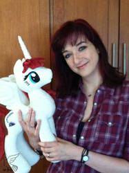 Lauren Faust with the Fausticorn I Made for Her