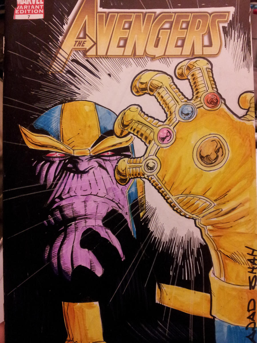 another Thanos Sketch Cover by Sajad126