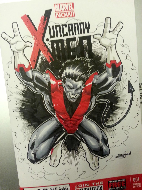 xmens nightcrawler sketch cover by Sajad126