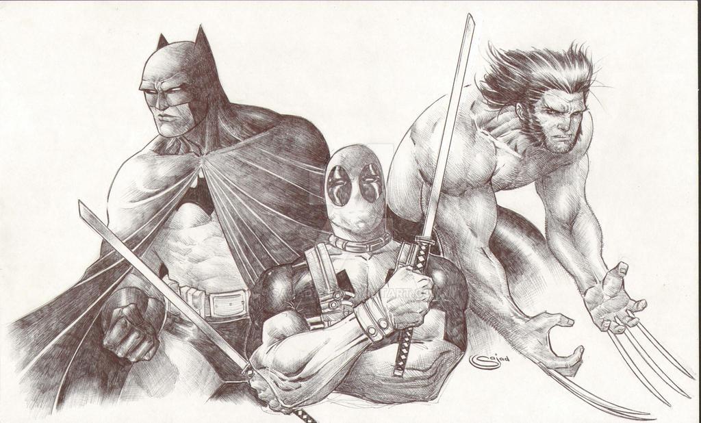 Pen sketch Batman Deadpool Wolverine by Sajad126