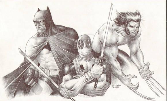 Pen sketch Batman Deadpool Wolverine