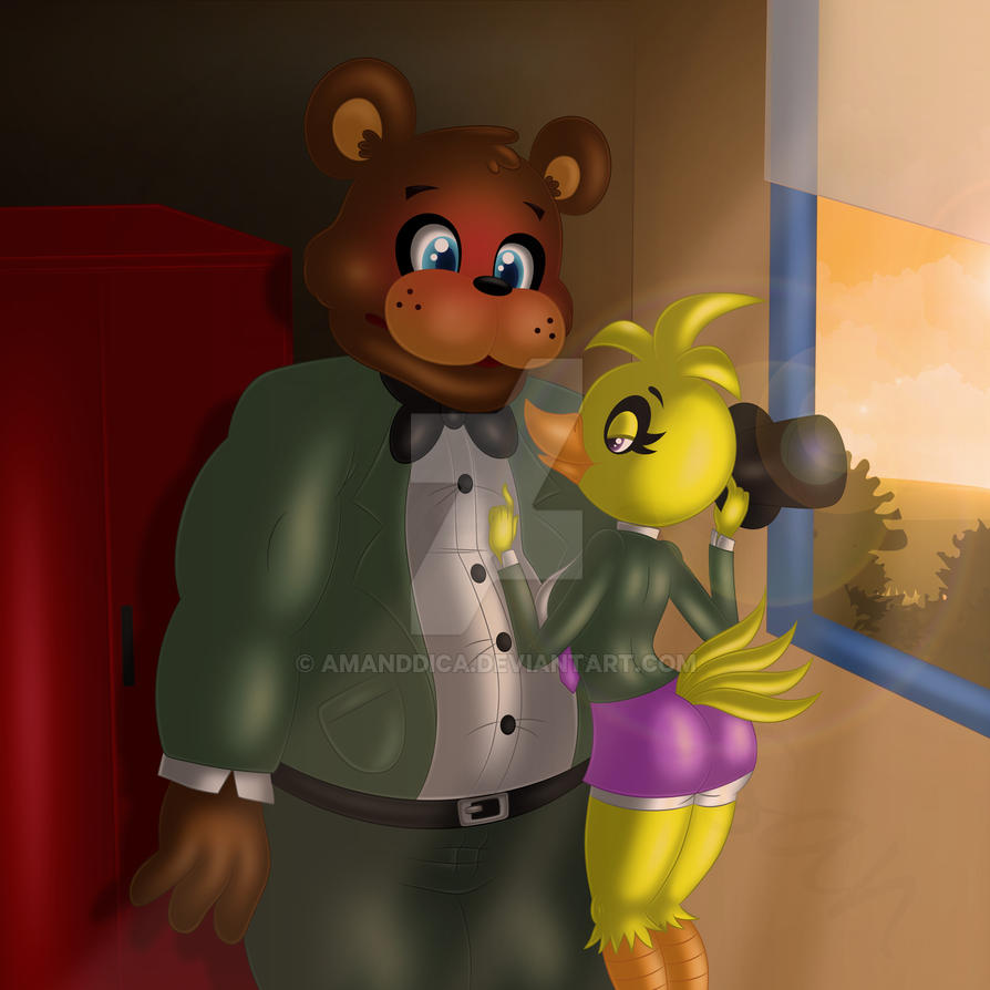 Freddy And Chica In Fredbear College .:Gift:. By Amanddica