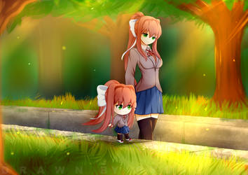 Commission - Monika and Chibika walking by leemuel01