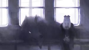 Wolf's Train Ride - Painting (ORIGINAL)