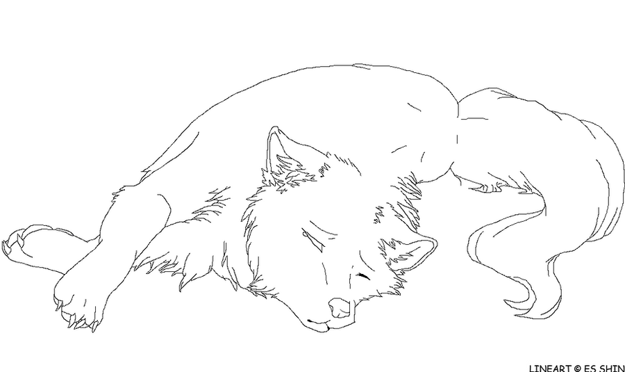 Sad Wolf Lineart By Xxwitherxx On Deviantart Anime Wolf Coloring Page