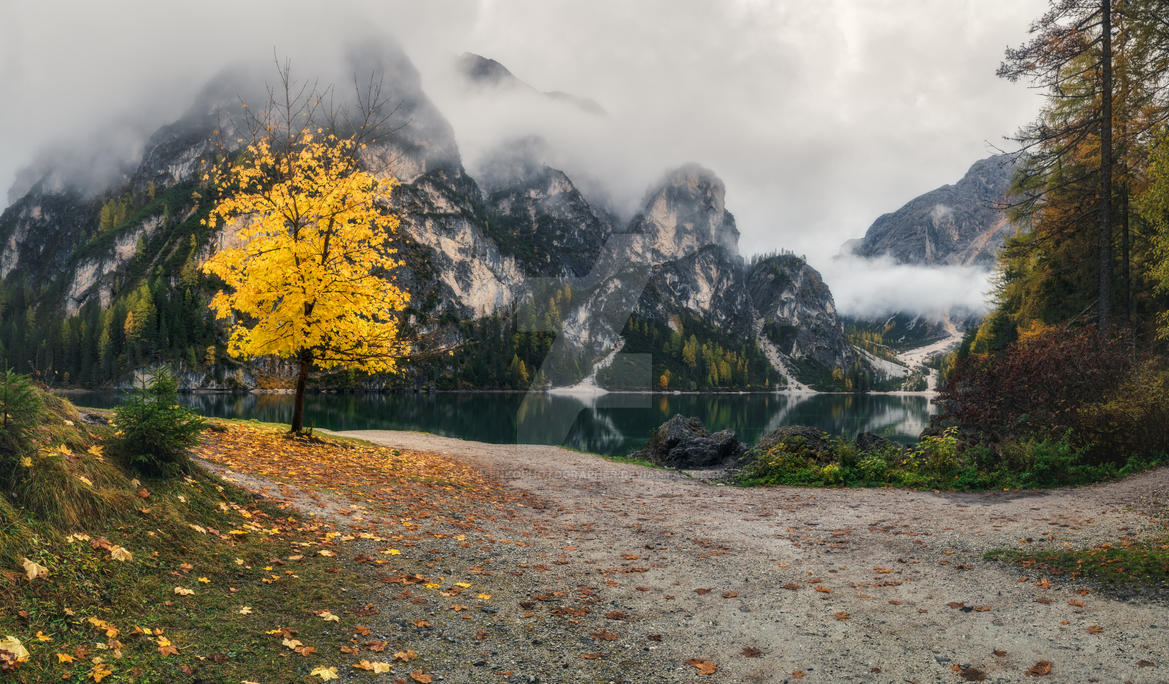 Italy. Dolomites. Cloudy morning at Lake Braies by naumenkophotographer