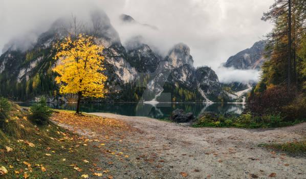Italy. Dolomites. Cloudy morning at Lake Braies