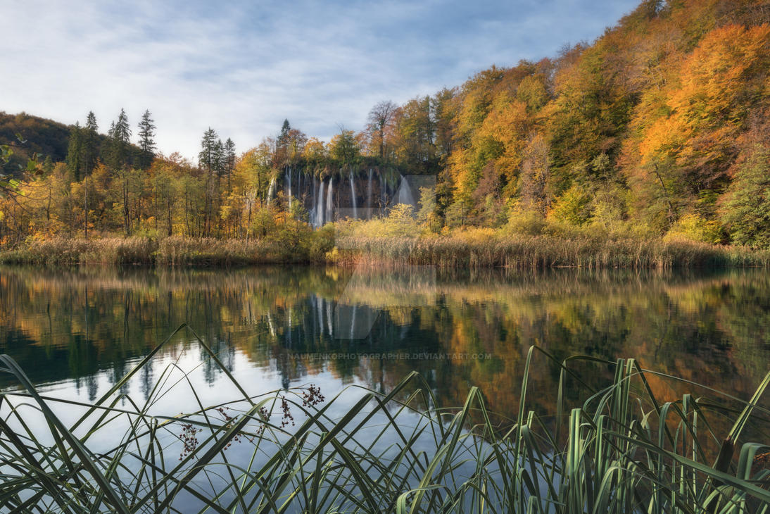 Plitvice Lakes at the Galovac waterfall autumn by naumenkophotographer