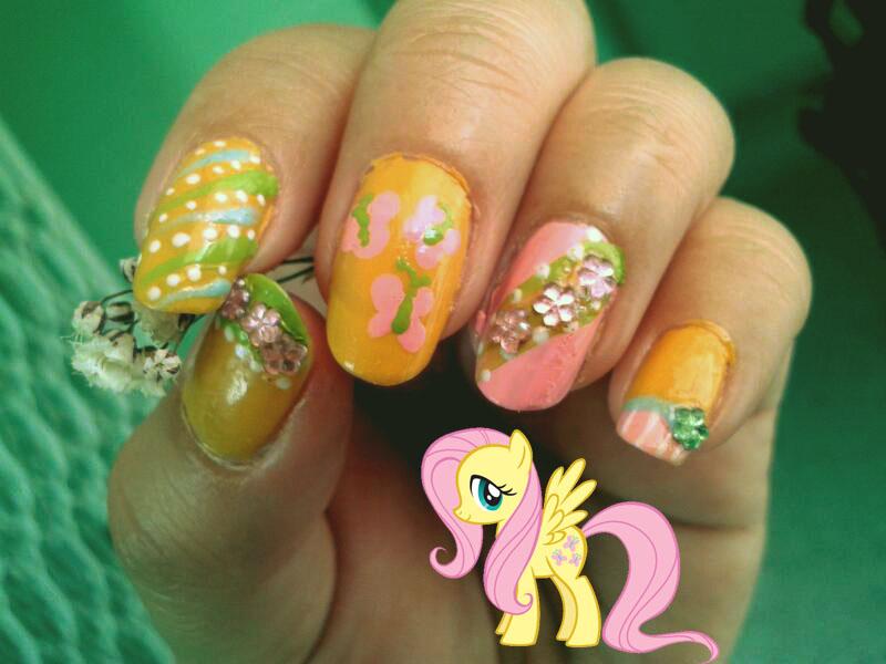 Fluttershy nails by Conejita-Ginny