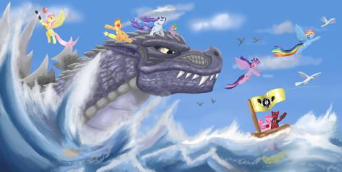 Godzilla and Ponies by Mr-DarkBlade