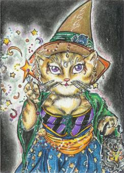 Feline Witchery (ACEO) by Keyshe54