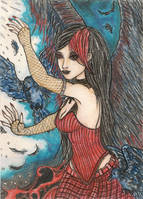Flowing Red- Crimson ACEO by Keyshe54