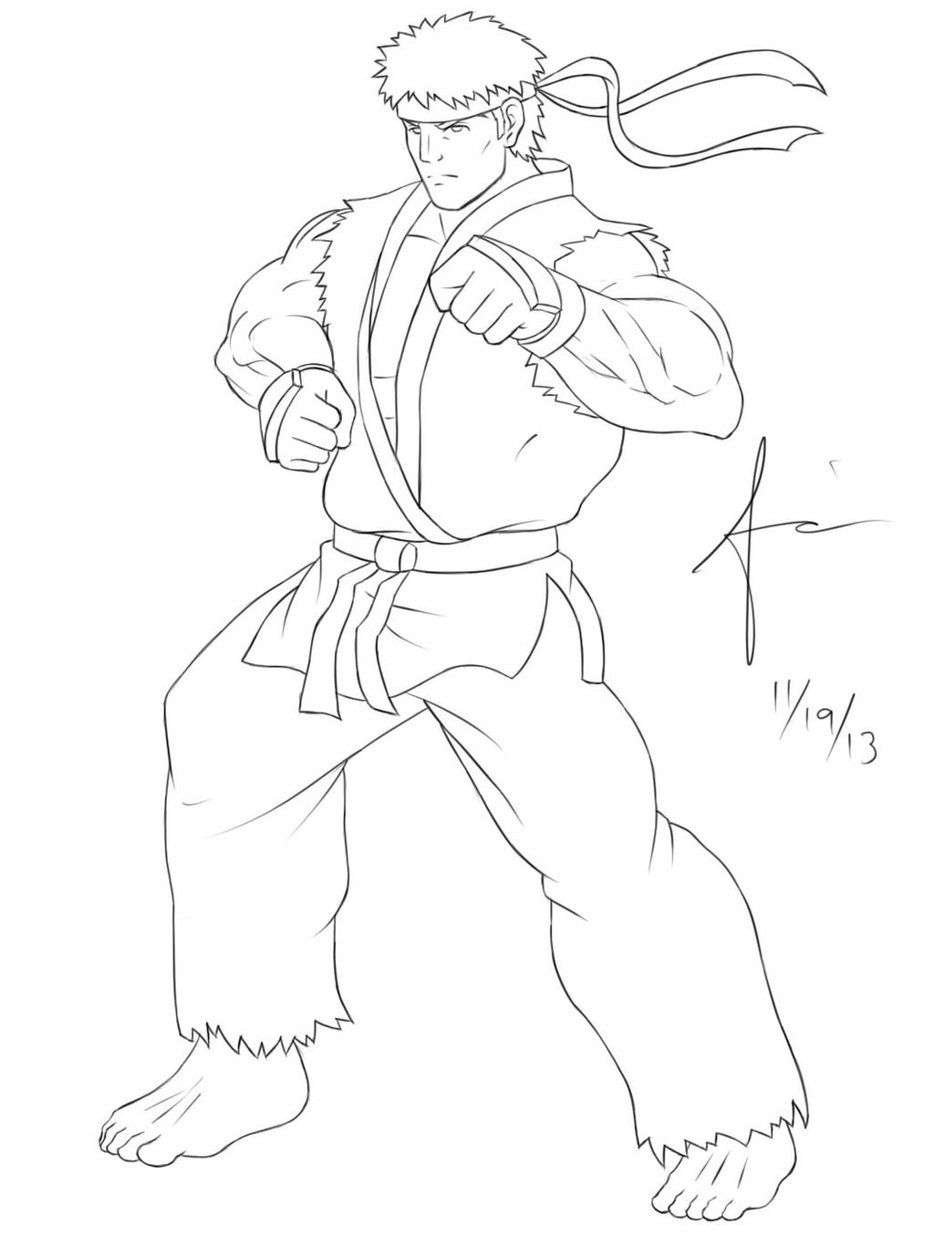 Ryu Street Fighter Lineart By Ajanime22 On Deviantart