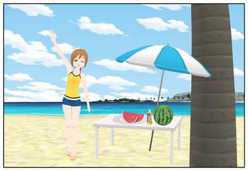 Monika at the Beach by Anoldanimefan
