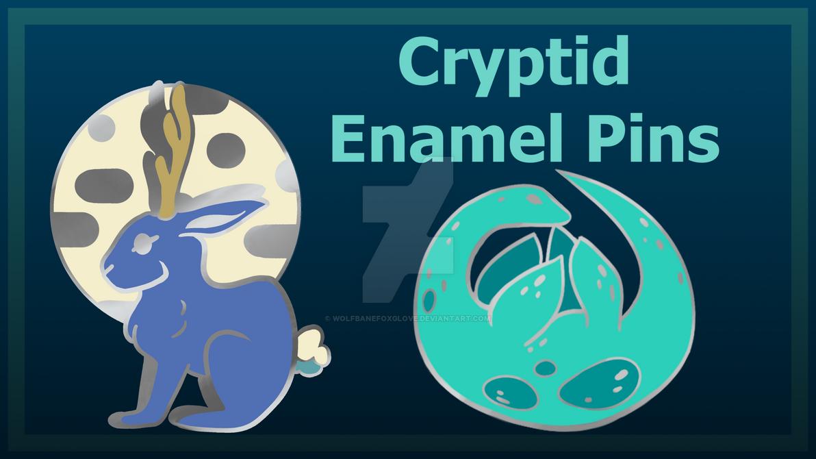 Kickstarter Cryptid Enamel Pins by wolfbanefoxglove