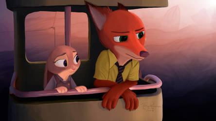 Nick and Judy (Zootopia) by ThreePancakes