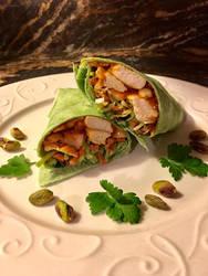 Asian Chicken Spinach Wrap with Thai Peanut Sauce by MichaelWKellarINKS