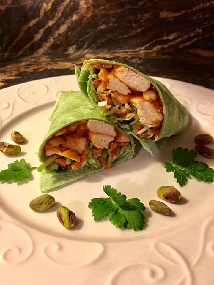 Asian Chicken Spinach Wrap with Thai Peanut Sauce