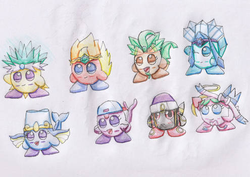 Eeveelution Squad as Kirbies (Art Challenge)