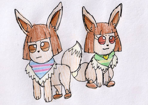 Frisk and Chara as Eevee
