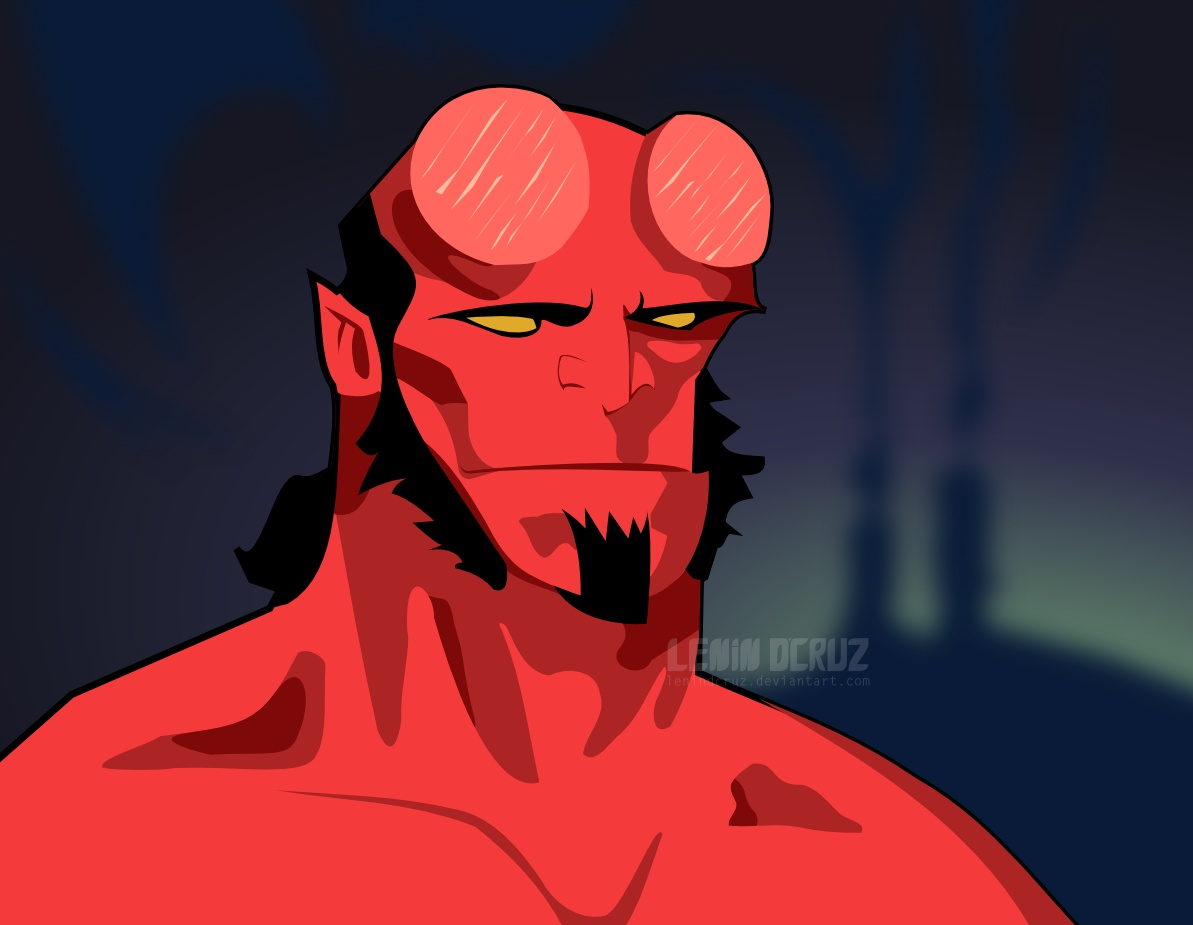 Hellboy coloured Vector by lenindcruz