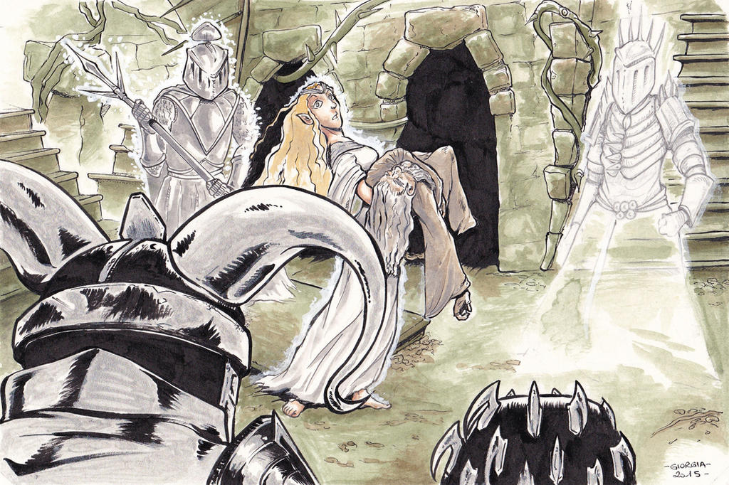 Galadriel faces the Wraiths by MadFretsy