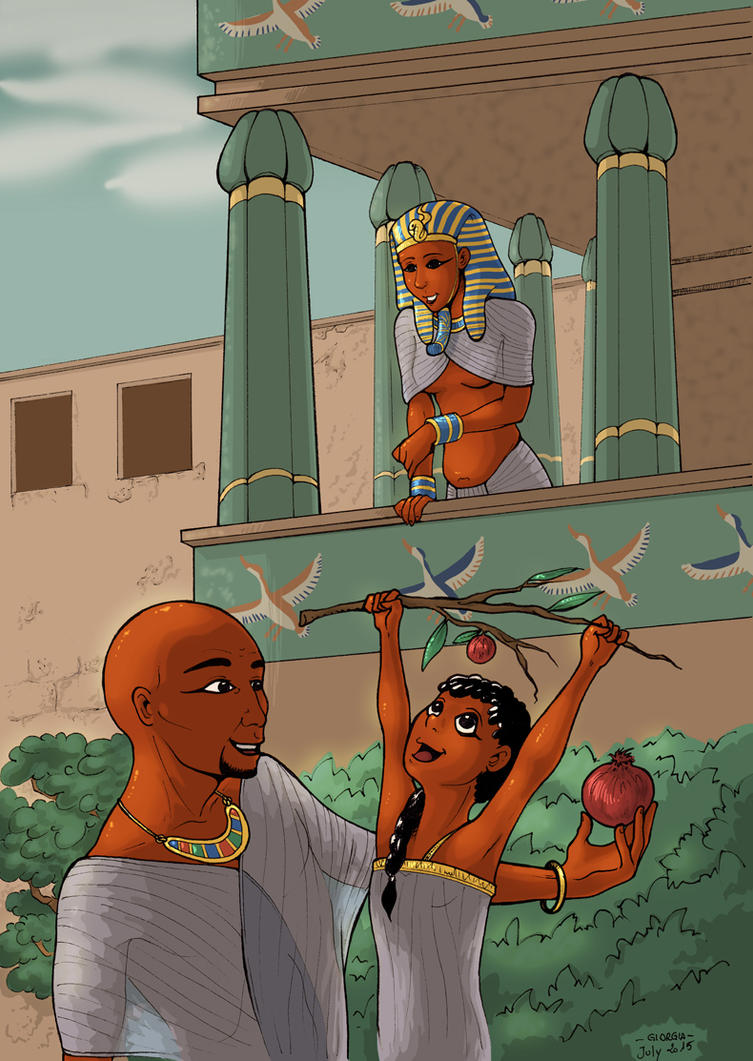 Hatshepsut watches Senenmut and Neferura playing by MadFretsy