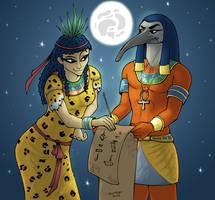 The Gods - Seshat and Thot by MadFretsy
