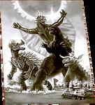 Godzilla X Varan, Baragon and Anguirus poster