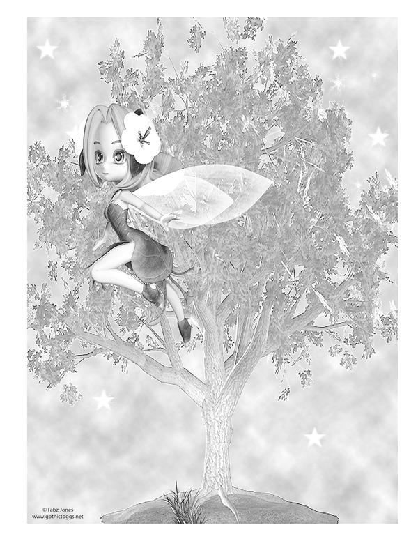 Fairy Flight Fantasy Greyscale Coloring Page by GothicToggs