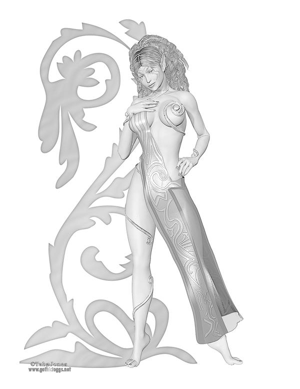 Fantasy Elven Princess Greyscale Coloring Page by GothicToggs