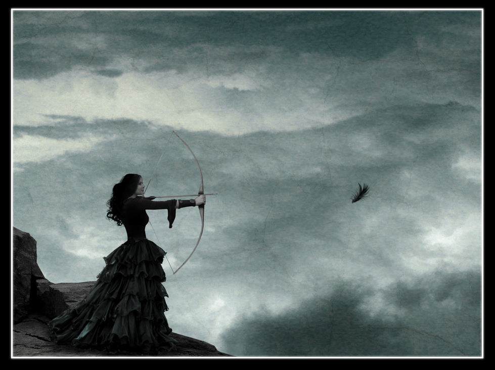 Girl with a feather by Lareth