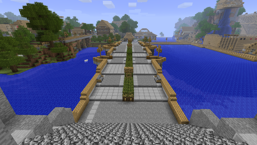Decorating Minecraft Japanese Bridge