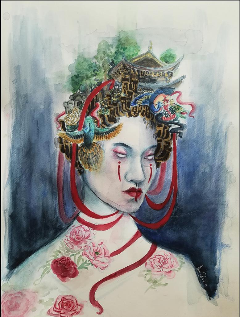 Untitled portraint of Japanese girl by Blacksheep0