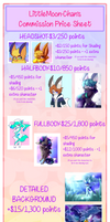 :Commission Price Sheet 2019: by LittleMoon-Chan