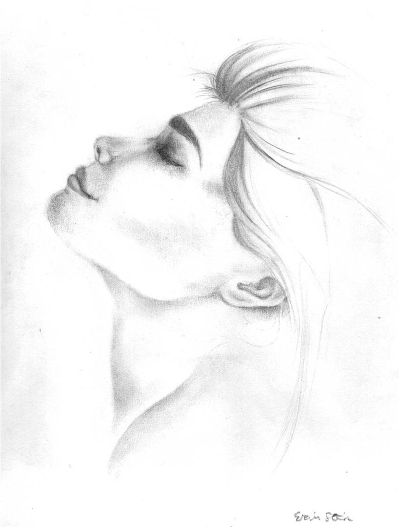 woman looking up profile drawing